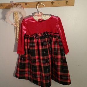 WonderKids Size 2T Pink Velour Tartan Plaid Dress